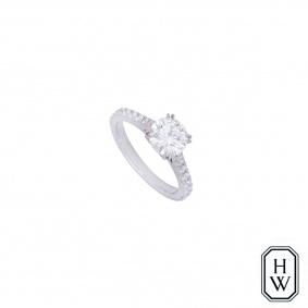 Harry Winston Platinum Brilliant Love Diamond Ring 1.09ct E/VS1 XXX